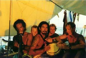 Gruppefoto på dækket