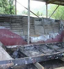 Bagbord skrog før reperation